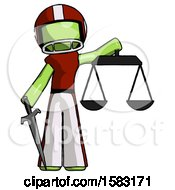 Green Football Player Man Justice Concept With Scales And Sword Justicia Derived
