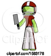Green Football Player Man Holding Meat Cleaver