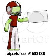Green Football Player Man Holding Large Envelope