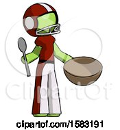 Green Football Player Man With Empty Bowl And Spoon Ready To Make Something