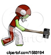 Green Football Player Man Hitting With Sledgehammer Or Smashing Something