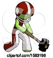 Green Football Player Man Hitting With Sledgehammer Or Smashing Something At Angle