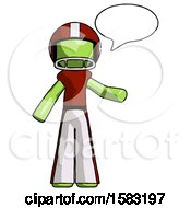 Green Football Player Man With Word Bubble Talking Chat Icon