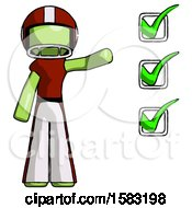 Green Football Player Man Standing By List Of Checkmarks