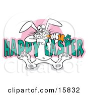 Silly White Easter Bunny Eating A Carrot While Hanging Onto Text Reading Happy Easter