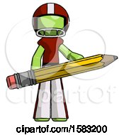 Green Football Player Man Writer Or Blogger Holding Large Pencil