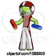 Green Football Player Man Red Pill Or Blue Pill Concept
