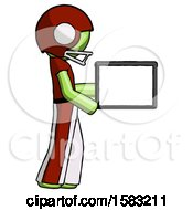 Green Football Player Man Show Tablet Device Computer To Viewer Blank Area