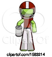Green Football Player Man Begger Holding Can Begging Or Asking For Charity