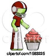 Green Football Player Man With Giant Cupcake Dessert