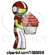 Green Football Player Man Holding Large Cupcake Ready To Eat Or Serve