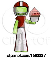 Green Football Player Man Presenting Pink Cupcake To Viewer