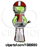 Green Football Player Man Serving Or Presenting Noodles