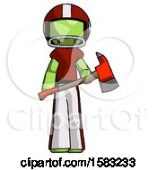 Green Football Player Man Holding Red Fire Fighters Ax