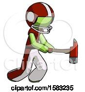 Green Football Player Man With Ax Hitting Striking Or Chopping