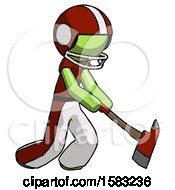 Green Football Player Man Striking With A Red Firefighters Ax