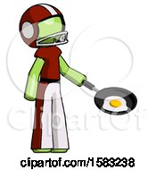 Poster, Art Print Of Green Football Player Man Frying Egg In Pan Or Wok Facing Right
