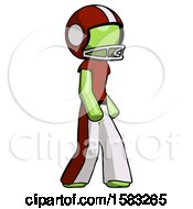 Green Football Player Man Walking Turned Right Front View