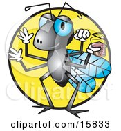 Thirsty Fly Holding A Glass Of Water Or Juice Clipart Illustration