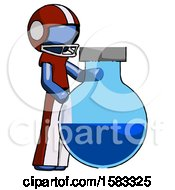 Blue Football Player Man Standing Beside Large Round Flask Or Beaker