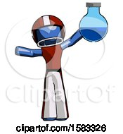 Blue Football Player Man Holding Large Round Flask Or Beaker