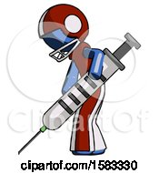 Blue Football Player Man Using Syringe Giving Injection