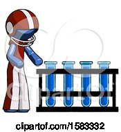 Blue Football Player Man Using Test Tubes Or Vials On Rack
