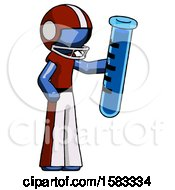 Blue Football Player Man Holding Large Test Tube
