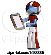 Blue Football Player Man Reviewing Stuff On Clipboard