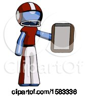 Blue Football Player Man Showing Clipboard To Viewer