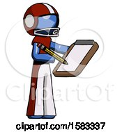 Blue Football Player Man Using Clipboard And Pencil