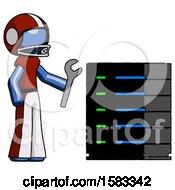 Blue Football Player Man Server Administrator Doing Repairs