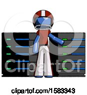 Blue Football Player Man With Server Racks In Front Of Two Networked Systems