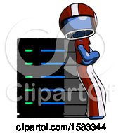 Blue Football Player Man Resting Against Server Rack Viewed At Angle