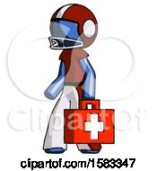 Blue Football Player Man Walking With Medical Aid Briefcase To Left
