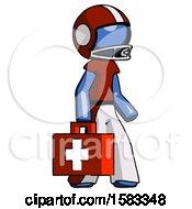 Blue Football Player Man Walking With Medical Aid Briefcase To Right