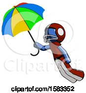 Blue Football Player Man Flying With Rainbow Colored Umbrella