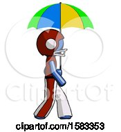 Blue Football Player Man Walking With Colored Umbrella