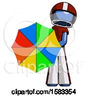 Blue Football Player Man Holding Rainbow Umbrella Out To Viewer