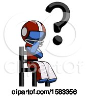 Blue Football Player Man Question Mark Concept Sitting On Chair Thinking