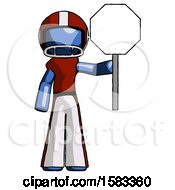 Blue Football Player Man Holding Stop Sign