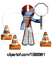 Blue Football Player Man Holding Stop Sign By Traffic Cones Under Construction Concept