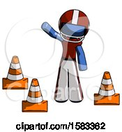 Blue Football Player Man Standing By Traffic Cones Waving