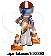 Blue Football Player Man Holding A Traffic Cone