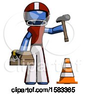 Blue Football Player Man Under Construction Concept Traffic Cone And Tools