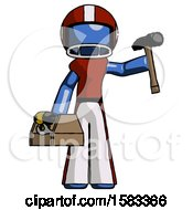 Blue Football Player Man Holding Tools And Toolchest Ready To Work