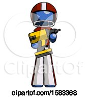 Blue Football Player Man Holding Large Drill