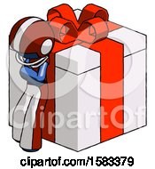 Blue Football Player Man Leaning On Gift With Red Bow Angle View