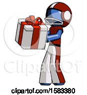 Blue Football Player Man Presenting A Present With Large Red Bow On It