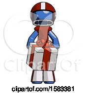 Blue Football Player Man Gifting Present With Large Bow Front View